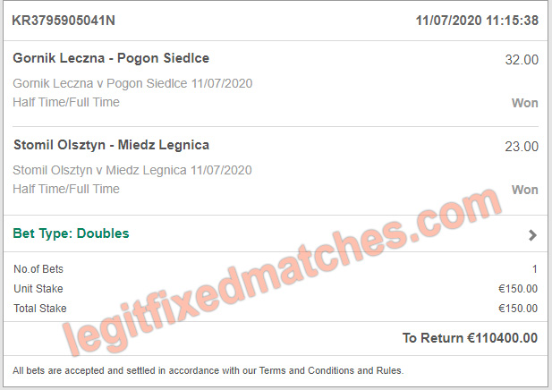 legit betting fixed matches 100%