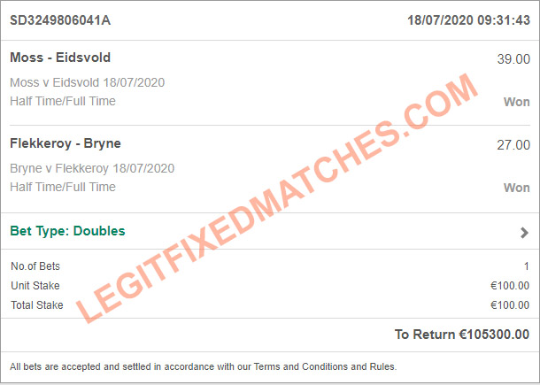 legit fixed matches today