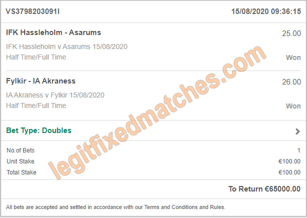 half time full time fixed matches 100% legit