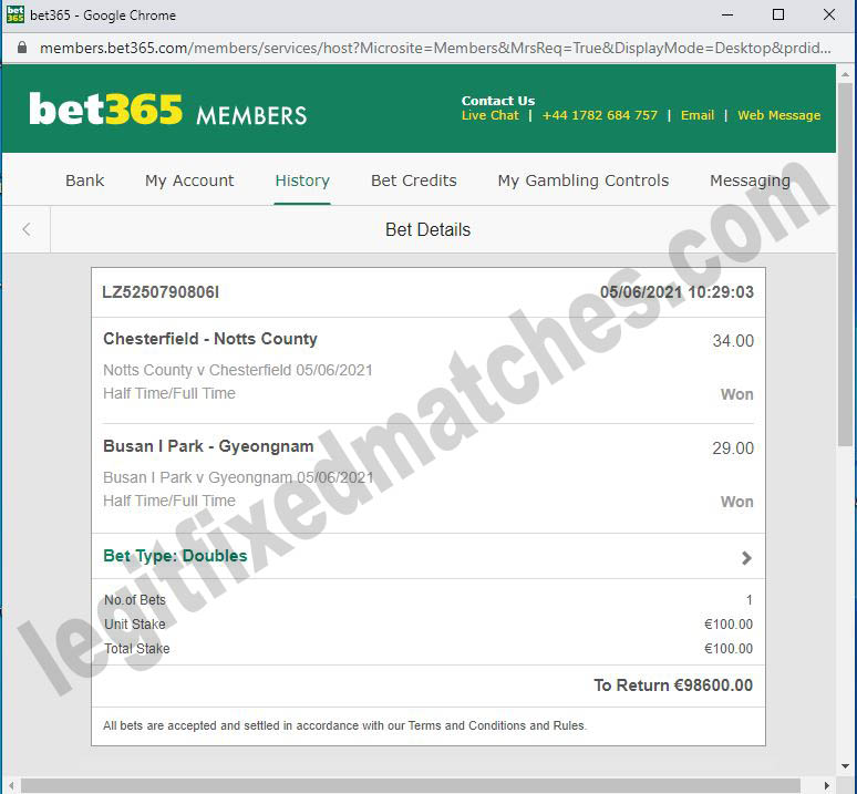 real fixed matches bets