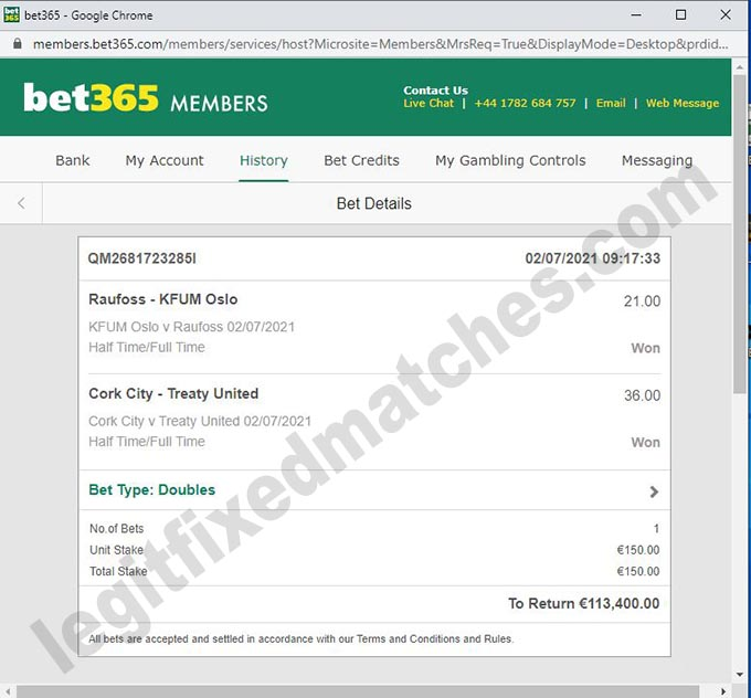 fixed matches draw 100%
